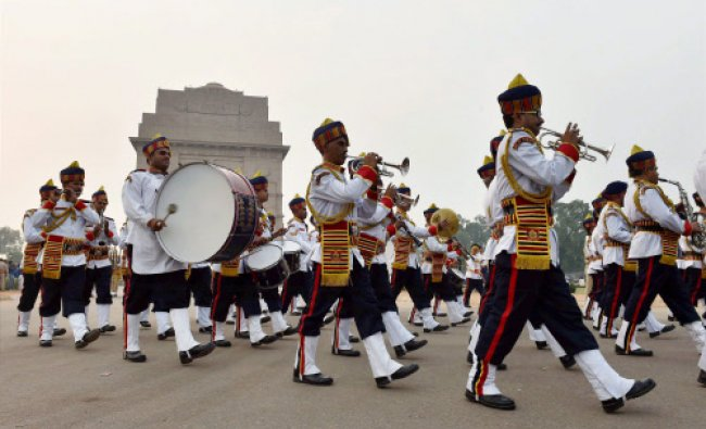 Delhi Police band performs at India Gate near Amar Jawan Jyoti to salute Sardar...