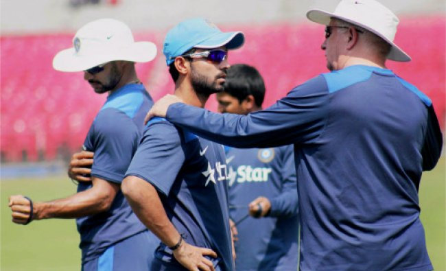 Indian cricket players during their practice session at barabati stadium in Cuttack...