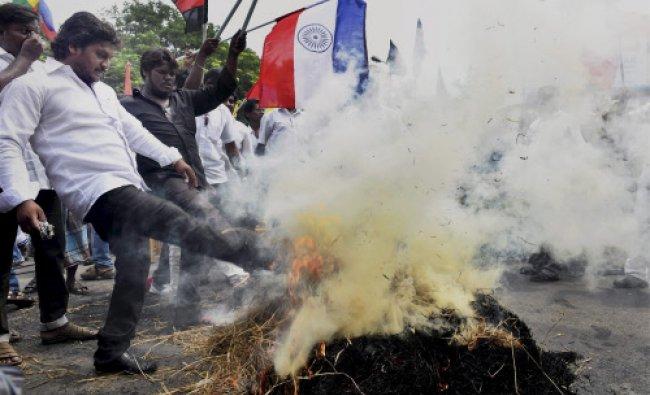 Members of Thamizhar Vazhvurimai Koottamaippu during a protest against Sri Lankan court\'s...