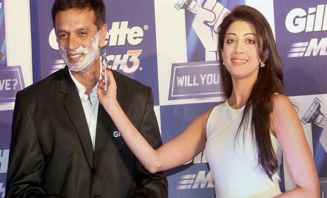 Rahul Dravid and actress Pranitha Subhash during a promotional event of Gillette...