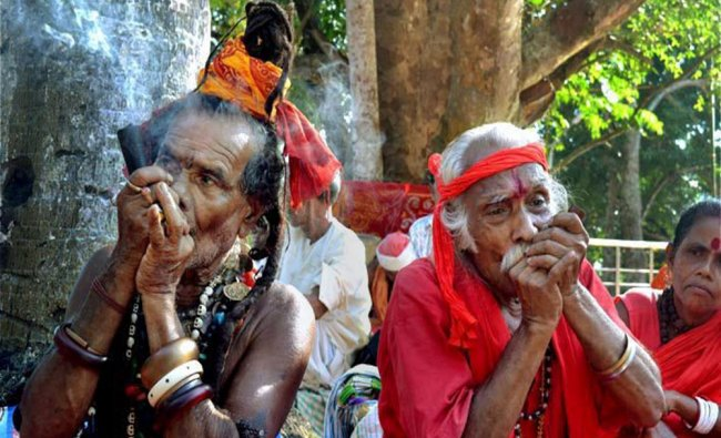 Sadhus smoke \'Chillum\' during Brahma Kund festival at Simna in Tripura...