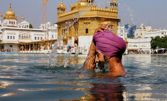 A Sikh devotee takes holy dip in the sarover on the occasion of Guru Nanak Dev Jayanti...