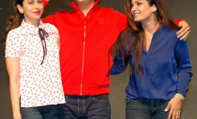 Bollywood actors Karishma Kapoor and Raveena Tandon with Choreographer Shiamak Daver during...