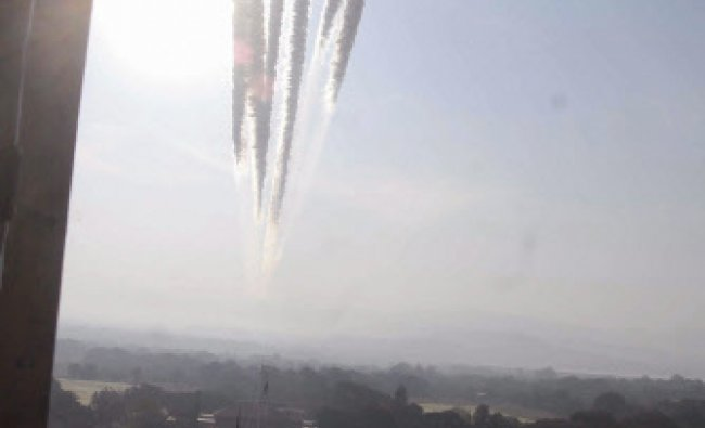 An air show at the 127th Passing out Parade at National Defence Academy in Pune on...