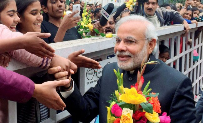 Prime Minister Narendra Modi children on new year\'s day in New Delhi...