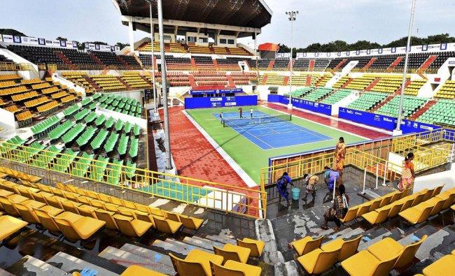 Preparations are underway at the Sports Development Authority of Tamil Nadu Tennis Stadium...
