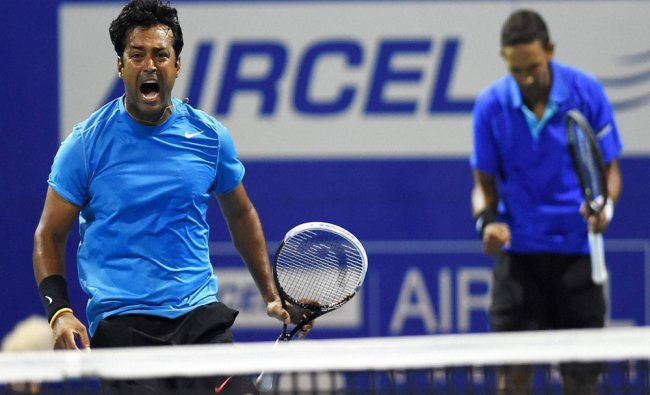 Indian tennis player Leander Paes and South African tennis player Raven Klaasen rejoice...