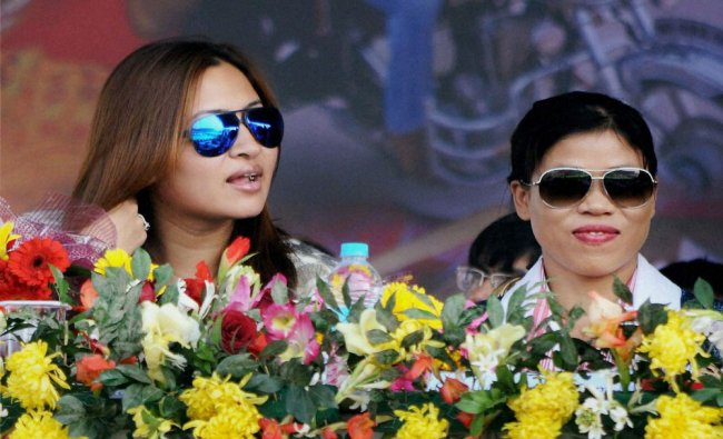 Jwala Gutta with Mary Kom during the closing ceremony of 19th National Youth Festival...