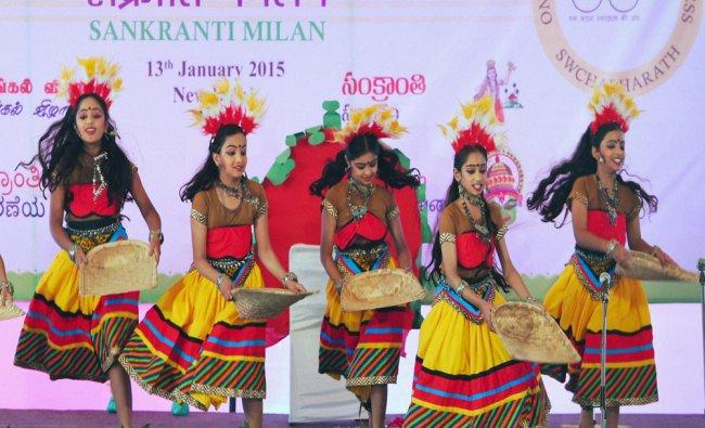 Students perform a traditional folk dance during Sankranti Milan...