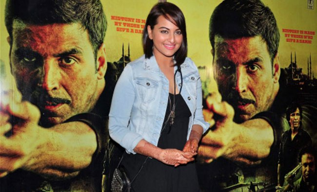 Bollywood actor Sonakshi Sinha during the special screening of film Baby in Mumbai on Wedneday