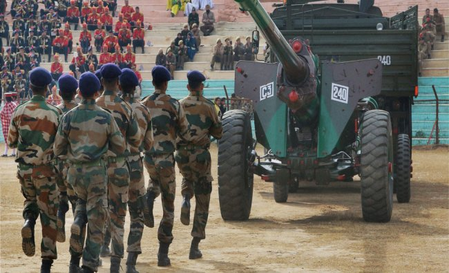 Army Jawans during the full dress rehearsal for the Republic Day parade in Jammu on Saturday...