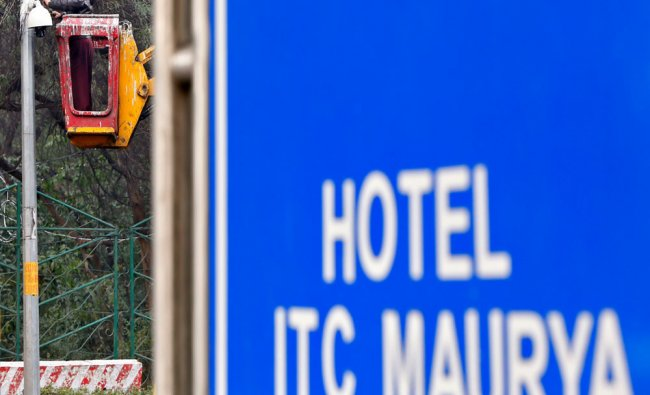 A security camera installed outside the hotel where U.S. President Obama is expected to stay...