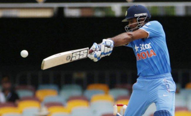India\'s batsman Ambati Rayudu plays a shot off England\'s bowler James Anderson during their...