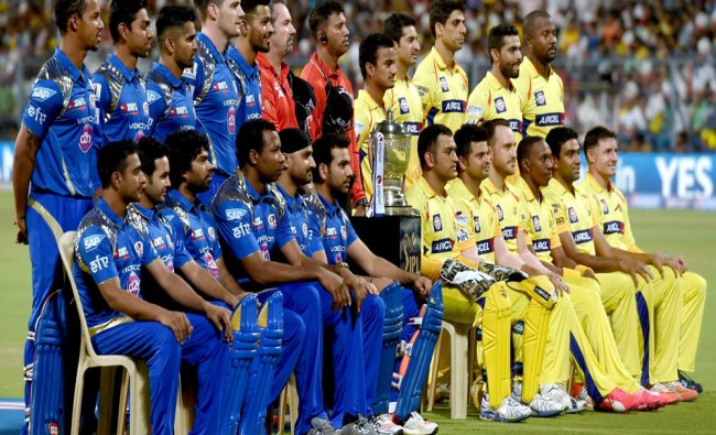 Mumbai India and CSK Cricketers with IPL Trophy during photo session ahead of their IPL 2015...