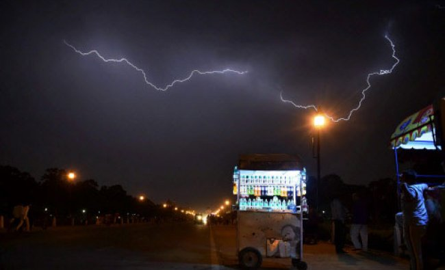 A view of lightning over Rajpath during rains in New Delhi on Monday. PTI Photo