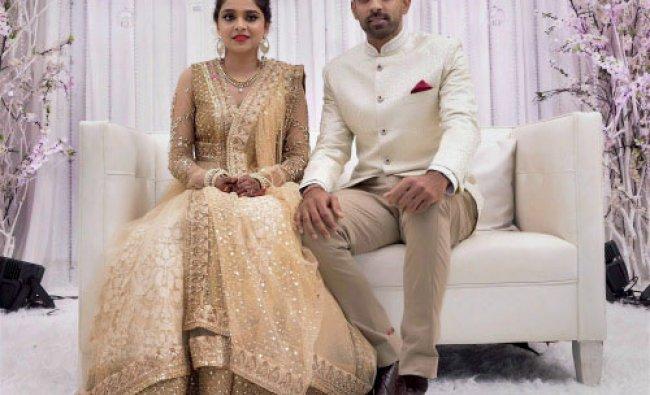 Cricketer Dhawal Kulkarni and Shraddha Kharpude at their engagement ceremony in Mumbai on ...
