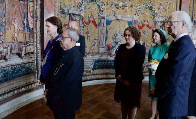 President Pranab Mukherjee with King Carl XVI Gustaf, Karin Wanngard, Mayor of Stockholm...