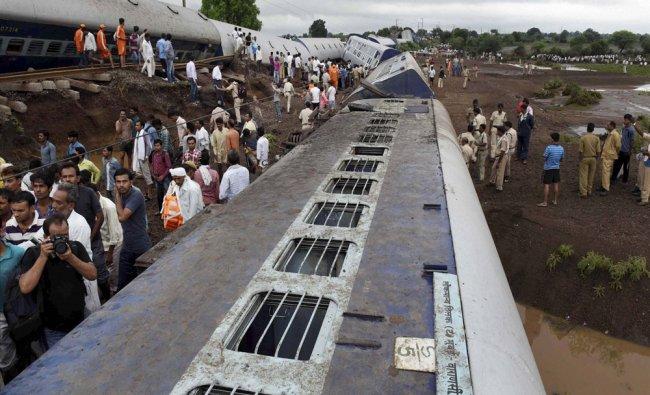 Rescue work in progress at Harda where Kamayani Express and Janata Express trains were derailed...