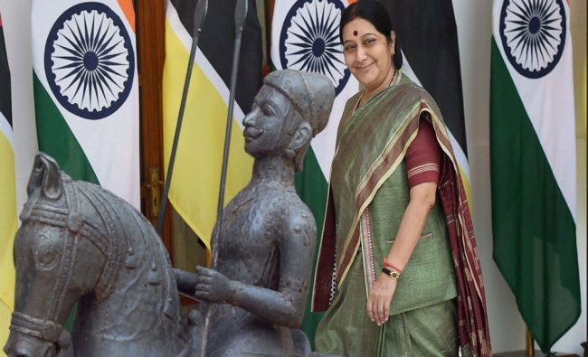 Sushma Swaraj arrives to attend a meeting with Mozambique President Filipe Jacinto Nyusi...