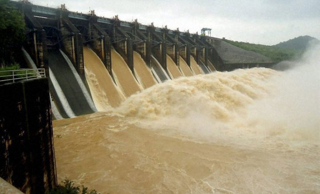 Water being discharged from Maithon dam due to continuous rain in Dhanbad on Wednesday...