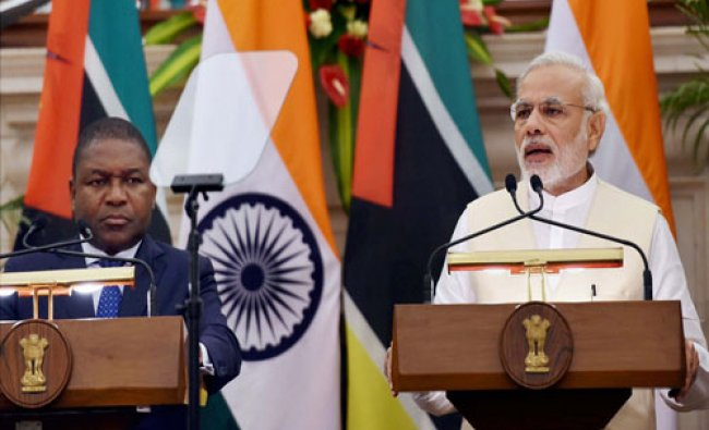 Modi and Mozambique President Filipe Jacinto Nyusi at the joint statement after a meeting...