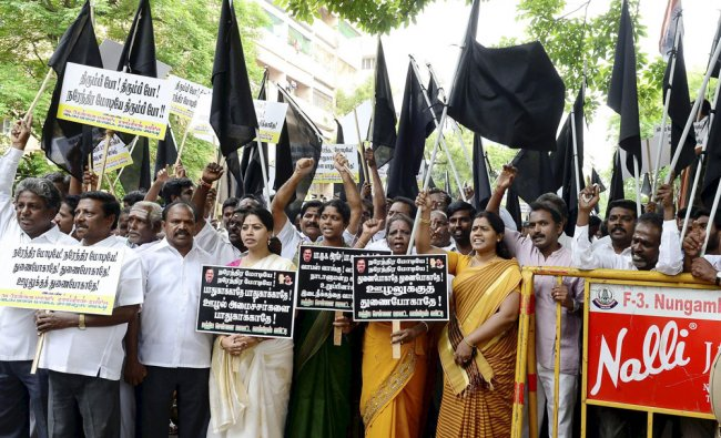 Tamil Nadu Congress Committee President E V K S Elangovan along with party leaders stage a protest