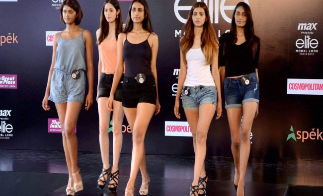 Models at the audition of Model Look India 2015 contest in New Delhi on Saturday...