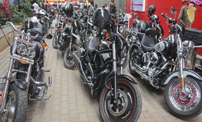 Harley Davidson Bikes at road safety awareness ride organised by Tusker Harley Davidson group...