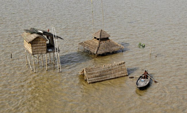 Flooded banks of river Ganga in Allahabad...