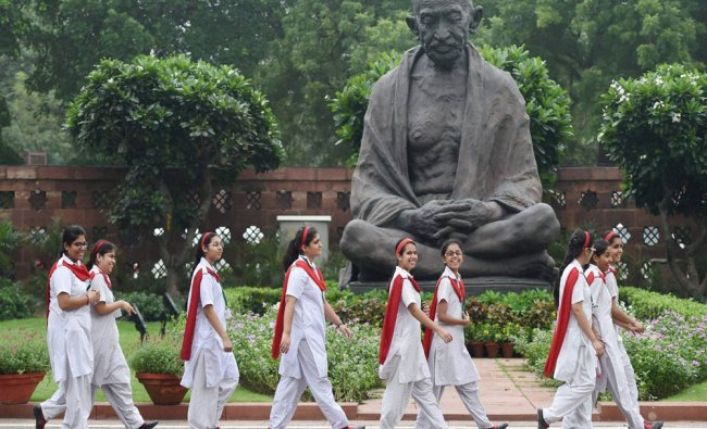 School girls visiting Parliament house in New Delhi on Tuesday...