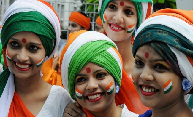 Women\'s College students during a competition ahead of Independent Day in Patna...