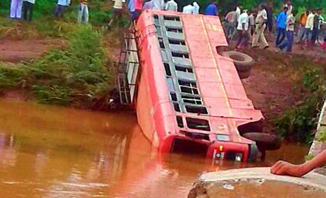A school bus which fell into a river injuring many students in Pusad Tehsil...
