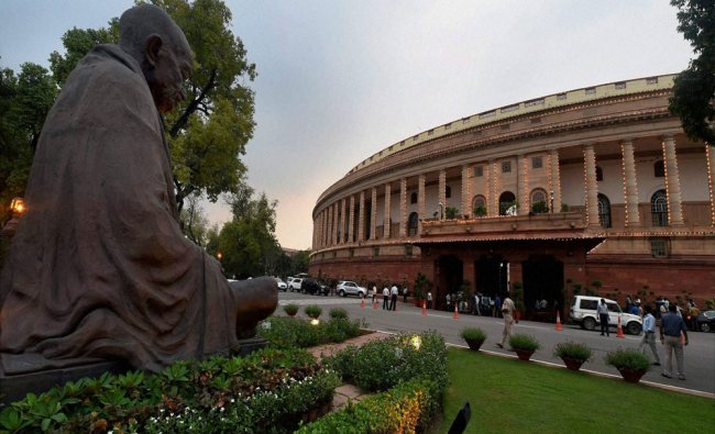 Lighting at Parliament ahead of the Independence Day in New Delhi...