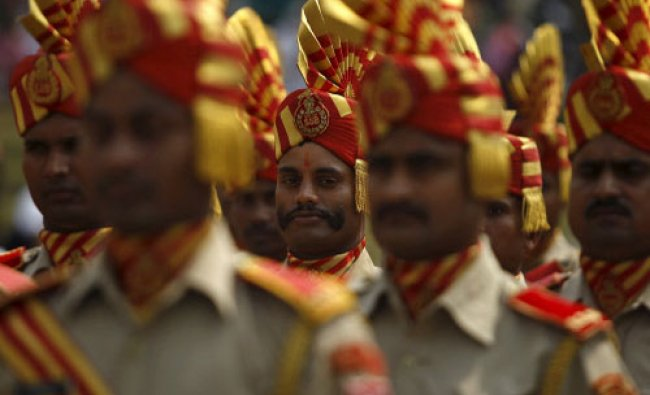 Policemen take part in the full-dress rehearsal for India\'s Independence Day celebrations...