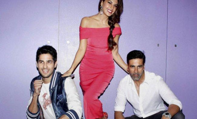 Bollywood actors Akshay Kumar, Sidharth Malhotra and Jacqueline Fernandez during a media...