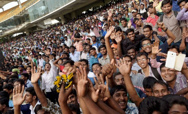Spectators cheer during the unofficial \'Triangular Series\' final...