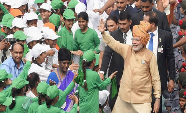 Prime Minister Narendra Modi interacts with school children after his address to the nation...