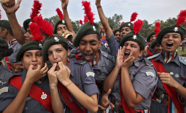 Cadets from NCC celebrate after being awarded the first position in the best...