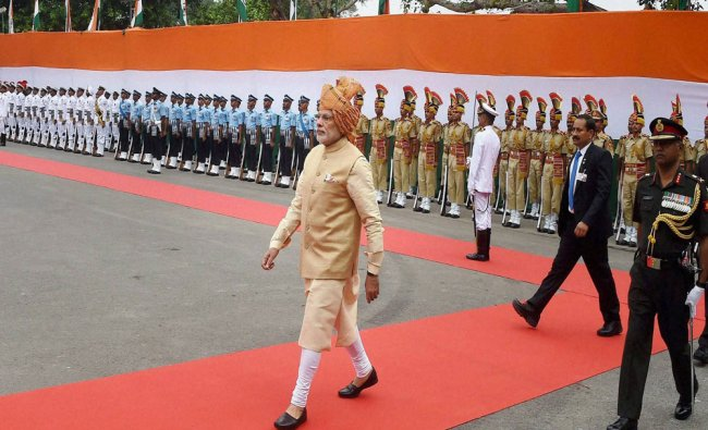 Narendra Modi after inspecting guard of honour during the 69th Independence Day Celebrations...