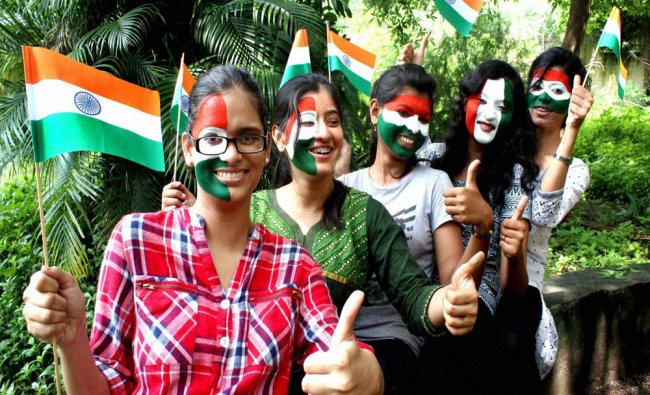 Young girls painted tricolour on their faces to mark the 69th Independence Day in Nagpur...