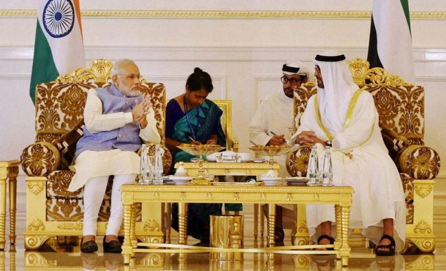 Modi with the Crown Prince of Abu Dhabi Sheikh Mohammed Bin Zayed al Nahyan...
