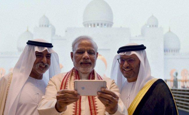 Narendra Modi takes a selfie...