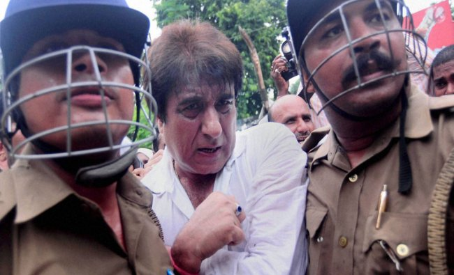 Police detain Raj Babbar and other Congress workers who...