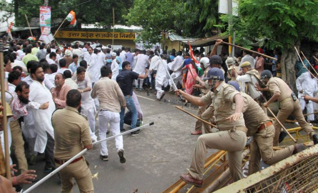 Police lathicharge on Congress workers who were marching toward Vidhan Sabha...
