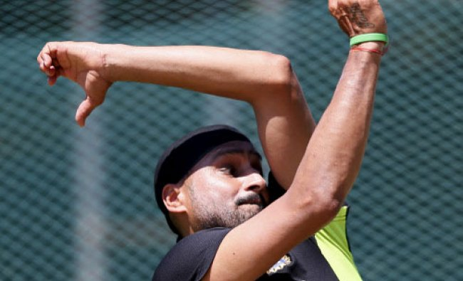 Harbhajan Singh bowls during a practice session ahead of the second test cricket match against...