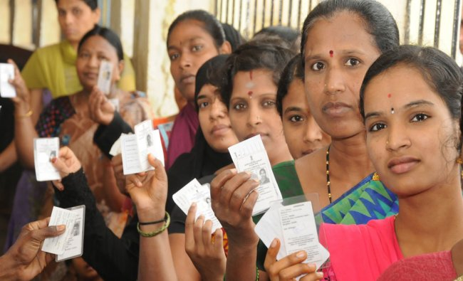 BBMP Election vote at Government School, Mangamanapalya ward 190 in Bengaluru...