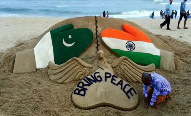 Sand artist Sudarsan Pattnaik creats a sculpture on INDO- PAK issue with a message...