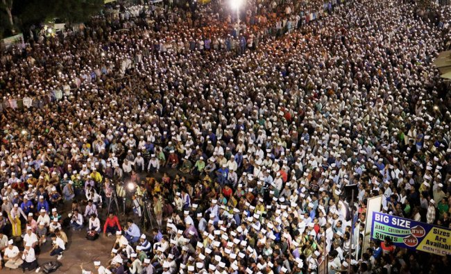 People from Patel or Patidar community attend a reservation rally led by Bardik Patel...