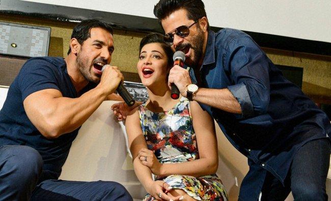 Bollywood Actors Anil Kapoor, John Abraham and Shruti Haasan during promotion of their upcoming ...