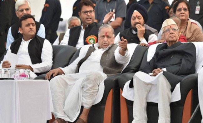 SP supremo Mulayam Singh Yadav with UP CM Akhilesh Yadav and former CM N D Tewari...